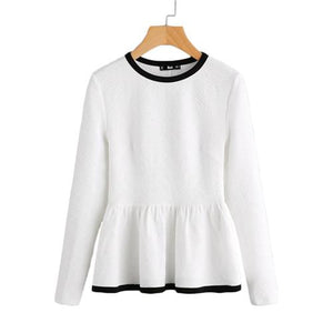 SHEIN Contrast Binding Textured Peplum Shirt White Women Tops Blouses Autumn Long Sleeve Elegant Fall 2017 Fashion Blouse-noashe