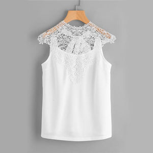 Sheinside Lace Chiffon Blouse White Hollow Out Bow Tie Open Back Women Tops 2017 Ladies Elegant Cap Sleeve Blouse-noashe