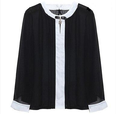 IMC New Hot Women Tops And Blouses New Hot Spring Ladies Chiffon Blouse Shirt Long Sleeve O- Neck Bow Tops-noashe