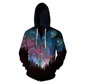 Cloudstyle Starry sky Hooded Sweatshirt Zipper Outerwear Anime Vegeta 3D Hoodies Women Men Zip Up Hoodie TracksuitsS-5XL-noashe