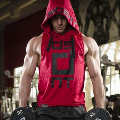 2017 Mens summer sleeveless Hoodies fitness fashion Casual jacket Hooded Sweatshirts Bodybuilding Brand sportswear vest clothing