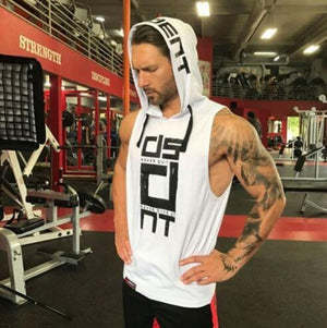 2017 Mens summer sleeveless Hoodies fitness fashion Casual jacket Hooded Sweatshirts Bodybuilding Brand sportswear vest clothing-noashe