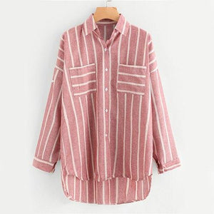 ROMWE Stripe Red Hi-Lo Shirt Chest Pocket Button Up Blouse Women Dip Hem Casual Tops Fall 2018 Fashion Long Sleeve Lapel Blouse-noashe