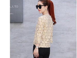 2017 new summer flare sleeve plus size lace women clothing top shirt casual solid hollow out spliced women blouse blusas 905E 30-noashe