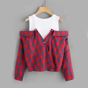 ROMWE Open Shoulder Check 2 In 1 Shirt Tunic Vogue Blouse Women Red Button Plaid Top Fall 2018 Long Sleeve Lapel Blouse-noashe