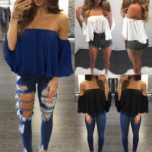 Fashion Women Summer Loose Casual Off Shoulder Shirt Crop Tops Blouse Ladies Top Size S-XL-noashe