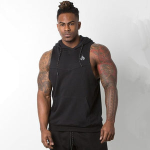 Mens Sleeveless Hoodies gyms Fitness Bodybuilding cotton Sweatshirt Casual fashion male workout Hooded Sportswear clothing-noashe