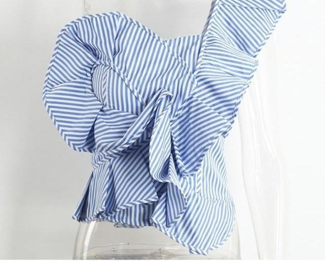 Simplee One shoulder blouse shirt women tops Summer irregular striped shirt blouse chemise femme Elegant ruffles zipper blusas-noashe
