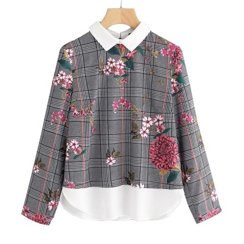 SHEIN Mixed Print Curved Hem 2 In 1 Blouse Autumn Women Tops Multicolor Contrast Collar Long Sleeve Floral Plaid Blouse-noashe