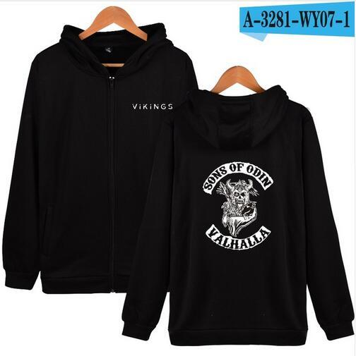 Aikooki The Sons of Odin Zipper hoodies Men/Women Purpose Cotton Vikings printed Hoodies Zipper Male Female Sweatshirt Clothes-noashe
