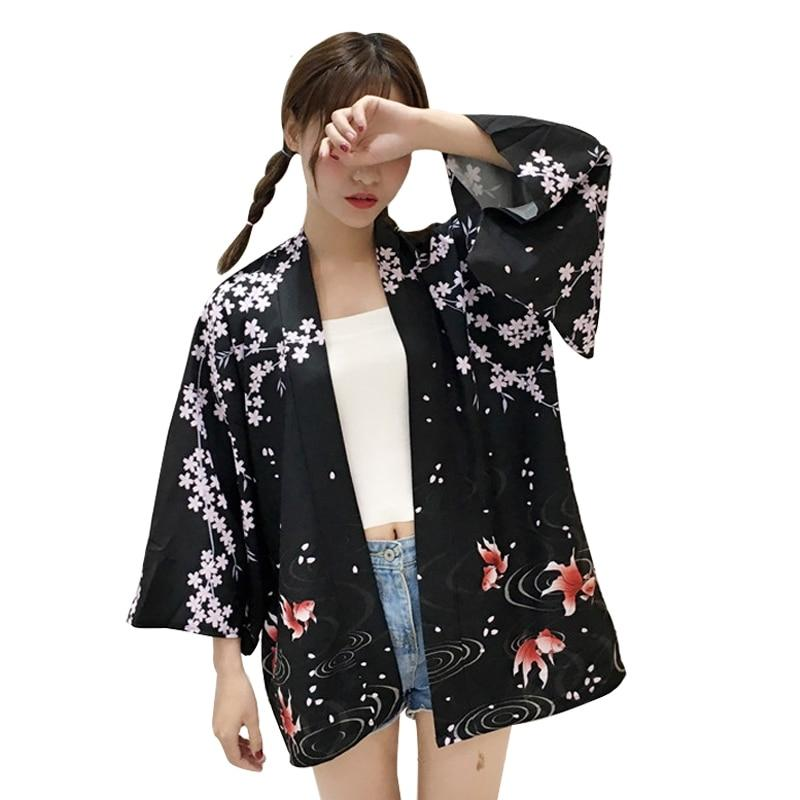2017 New Arrivals Women Jackets Retro Flowers Goldfish Printing Kimono Sunscreen Student Casual Wild Cardigan Jacket-noashe