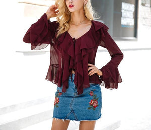 Simplee Sexy ruffle chiffon blouse shirt Autumn flare sleeve deep v neck women blouses 2017 Casual transparent streetwear blouse-noashe