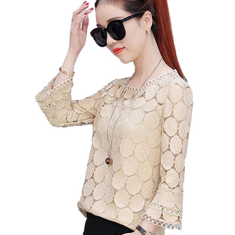 New 2017 Summer Fashion Style lace Women Blouses casual flare Sleeve solid ciffion Tops Plus Size women Shirt blusas 905E 30-noashe