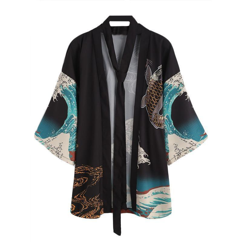 Dotfashion Vintage Print Kimono Women Half Sleeve V Neck Casual Blouse Japan Style Tops Fall 2017 Fashion New Boho Tunic Kimono-noashe