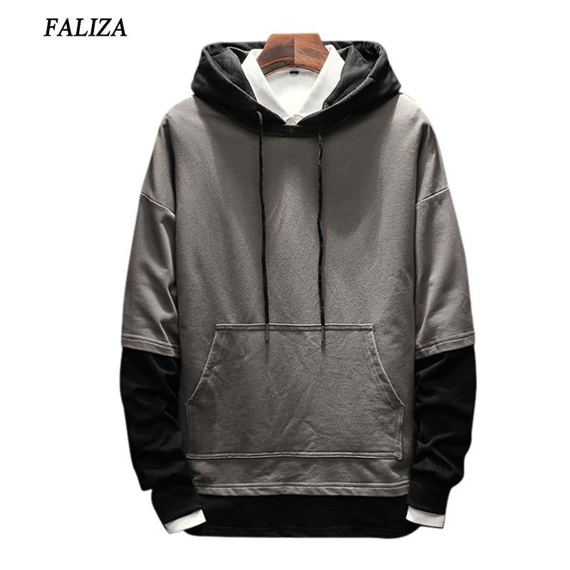 FALIZA 2017&2018 New Spring Autumn Hoodies Men Fashion Brand Pullover Fake Two Pieces hoodie sweatshirt Hip Hop Hoodie 5XL SMWYA-noashe