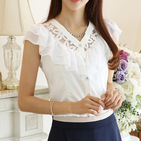 Free shipping New 2015 fashion women summer Chiffon Lace Blouse falbala casual base lady shirt Hollow out flowers 2 color S0197-noashe