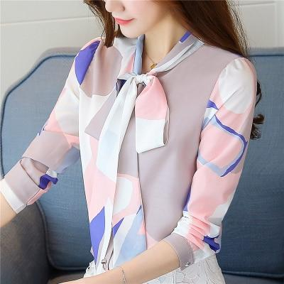 Fashion Spring Autumn Print Bow Collar Women's Long Sleeve Office Lady Tops Elegant Chiffon Blusas Shirts Slim Casual Blouses-noashe