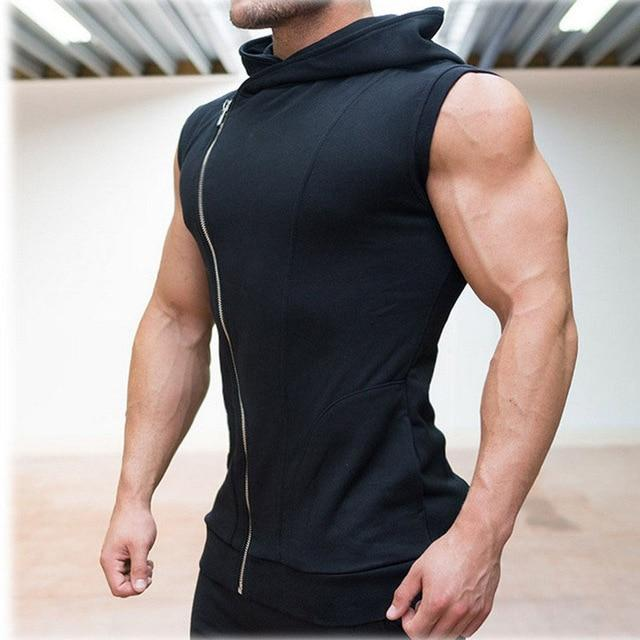 Aolamegs Mens Hoodies Sleeveless Hooded Bodybuilding Fitness Vest Hoodie Sweatshirts Tops Masculina Hombre Muscle Sportwear-noashe