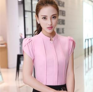 AIJI summer stand collar women shirts OL office puff short sleeve chiffon blouses ladies formal work wear clothes slim tops-noashe