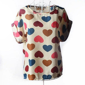 New Women Blouses Hot Selling Loose Animal Printed Chiffon Blouse Tops Female Autumn-Summer Dot/Heart Multi Colors-noashe