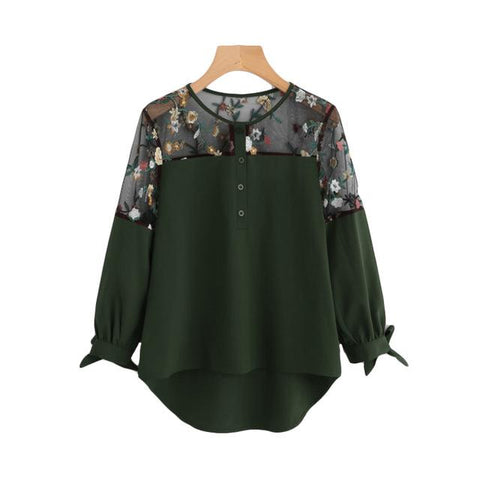 Sheinside Army Green Embroidered Lace Panel Dip Hem Tie Cuff Blouse 2017 Round Neck Long Sleeve Contrast Mesh Casual Blouse-noashe
