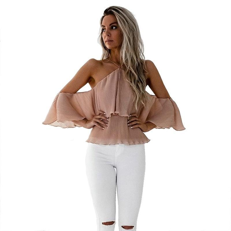 Gtpdpllt Sexy Off Shoulder Blouse Ruffles Women Halter Tops Butterfly Sleeve Slash Neck 2018 Spring Blouses Shirts Loose Blusas-noashe