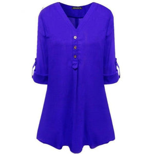 HWKJMY New Women Tops Classic Solid Color Blouse Woman V-neck Chiffon Long Sleeves Casual Female Shirt Plus Size 6XL-noashe