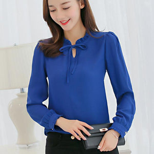 2XL Plus Size Women Spring Autumn Tops Blue White Blouse Fashion Elegant Chiffon Shirt Female Long Sleeve Blouses Shirts Blusas-noashe