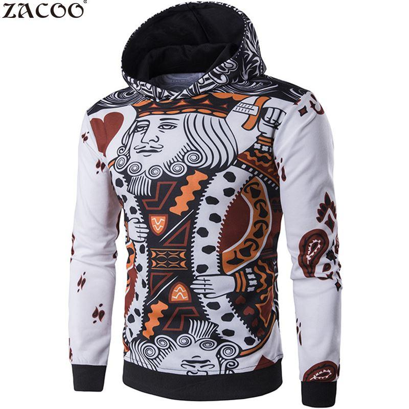 beda454d7beb ZACOO Men s Fashion 3D Playing Cards Poker Printing Pullover Jacket British  Style Fashion Jacket Men Jaqueta