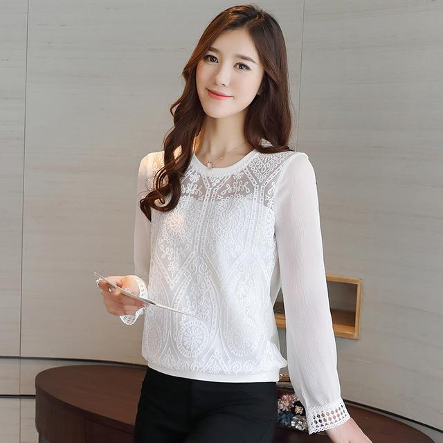 2017 Korean new fashion Slim long-sleeved female chiffon lace women blouse casual loose tops solid women shirt blusas 619H 30-noashe