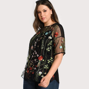 SHEIN Black Plus Size Blouse Fashion Embroidered Transparent Sexy Mesh Female Blouse Spring Autumn Short Sleeve Tops Blouse-noashe