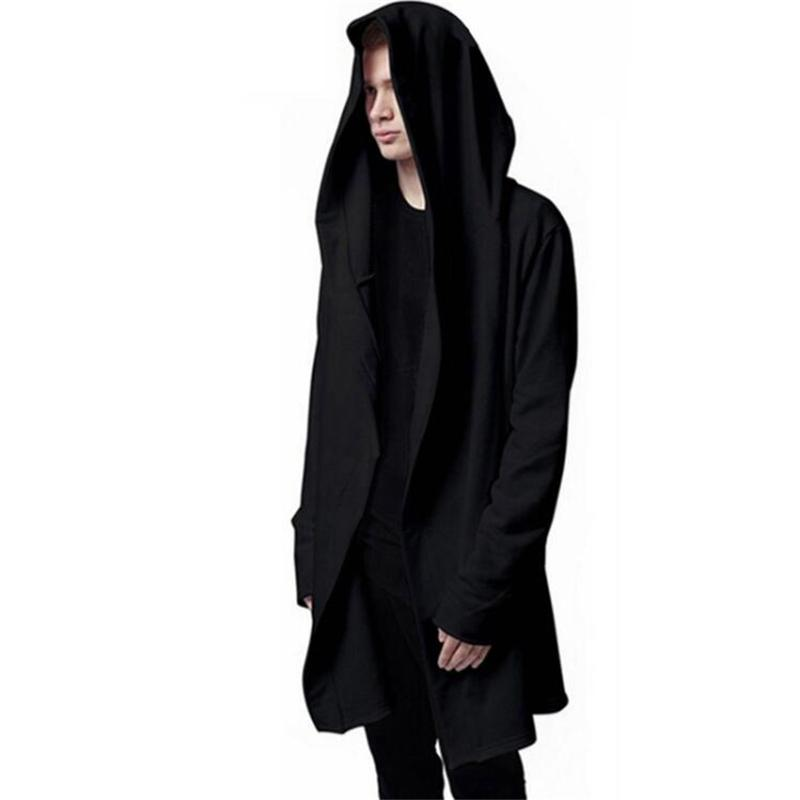 New Autumn Fashion Hip Hop Mantle Hoodies Sweatshirts Men Women Black Gown Jacket Long Sleeve Cloak Men's Coats Outwear Moletom-noashe