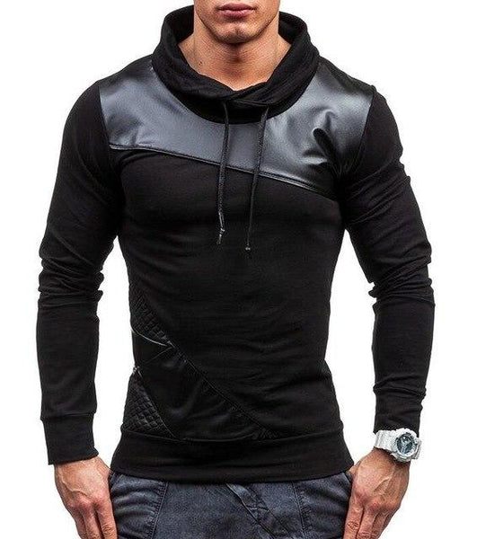 2017 Spring Autumn Fashion Solid PU Splicing Casual Male Streetwear Long Sleeve Hoodies Men Pullover Sweatshirts Thin Section