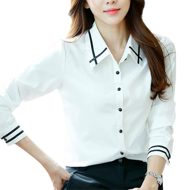 Fashion White Blue Plus Size Long Sleeve Turn-down Collar Formal Elegant Ladies Female Shirt Ladies tops school blouse-noashe