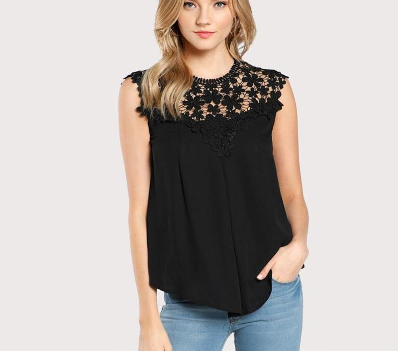 SHEIN Keyhole Back Daisy Lace Shoulder Shell Top Summer Sexy Womens Tops and Blouses Black Sleeveless Elegant Blouse-noashe