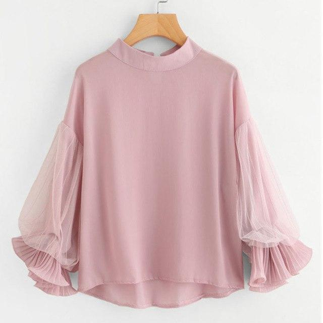 Dotfashion Pink Dip Hem Lace Panel Blouse 2017 Contrast Mesh Tiered Layer Woman Top High Neck 3/4 Sleeve Plain Blouse-noashe