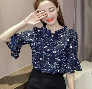 2017 new fashion Korean chiffon casual female shirt Round collar loose printing flower casual women blouse 31J 25-noashe