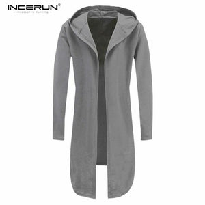 Men Sweatshirt Black Gown Hip Hop Mantle Hoodies Brand Fashion Streetwear Long Open Front Cloak Man's Coat Jacket Plus Size 3XL-noashe