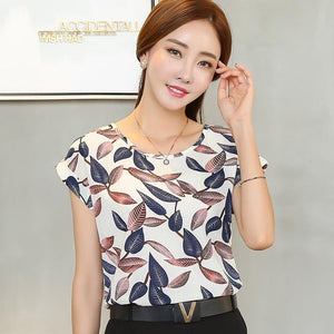 2017 New summer Fashion short Sleeve Printed Chiffon Plus Size women blouse Casual Loose Lady's striped shirt Tops 10B 30-noashe