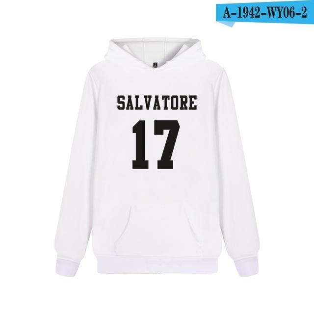 Salvatore 17 Vampire Diaries Mystic Falls Timberwolves Hoodies Print Salvatore 17 Mens Clothing Casual Cotton Hooded Sweatshirts-noashe