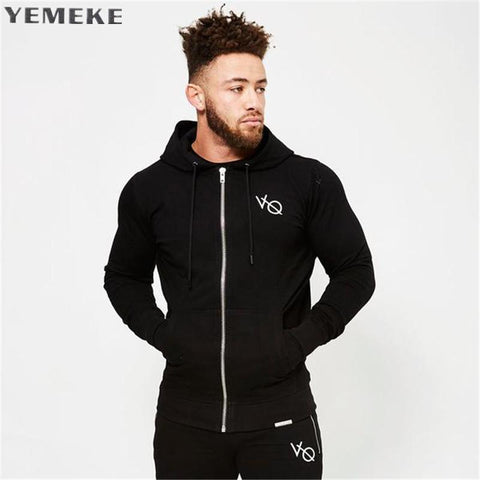 YEMEKE Fall new men cotton sweatshirt gyms Fitness bodybuilding Hoodies Casual fashion Hooded Jacket zipper slim fit Sportswear