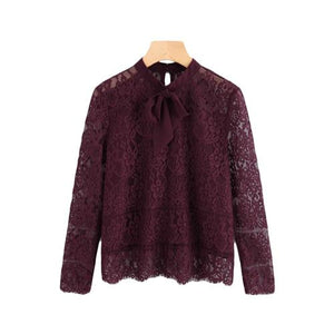 Sheinside 2017 Long Sleeve Blouse Burgundy Stand Collar Tie Neck Bow Eyelash Lace Plain Top Women Elegant Blouse-noashe