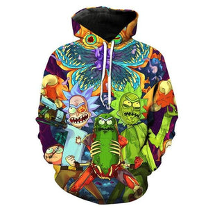 3D Rick And Morty Hoodies Sweatshirt Men Women 2017 Funny Cartoon Rick Print Hoodie Sweatshirt Mens Harajuku Hip Hop Streetwear-noashe