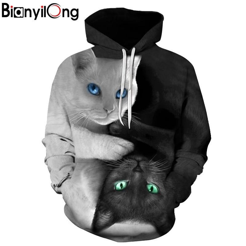 2017 3D Hoodies Men Hooded Sweatshirts two cat 3D Print hoody Casual Pullovers Streetwear Tops Autumn Regular Hipster hip hop-noashe