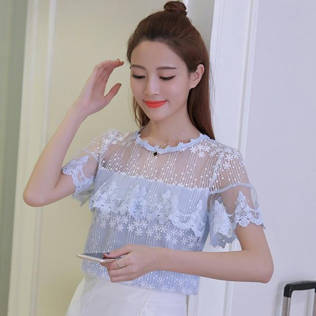 2017 Summer Women sexy White Elegant Lace Blouse Femme lace Shirt Tops Short Sleeve Blusas Feminina Hollow Out blouse shirt 608H-noashe