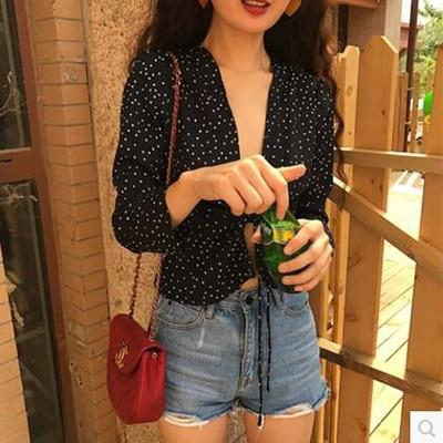 Summer Sexy Red Wrap Star Blouse for women Polka Dot Star Print V Neck shirt Chic Long sleeve Blusas Short Tops kimono 2018-noashe