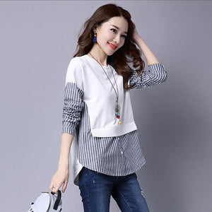 2018 Spring Blouses Shirt Female Long Sleeve Casual Striped Patchwork Fake Two Pieces Women Blouses Loose Plus Size Lady Tops-noashe