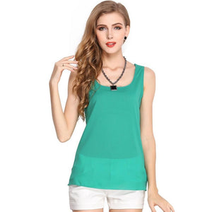 Free Shipping New 2018 Fashion Women Chiffon Sleeveless Shirt Vest Vest Tank Tops Blouse Waistcoat 7-noashe