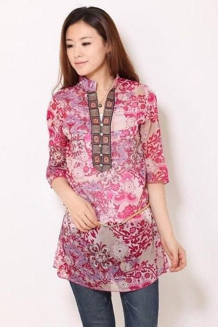2018 summer new embroidery printing women vestidos Chiffon Red / blue 5XL solid plus size floral casual blouse-noashe