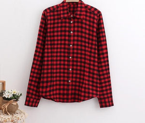 2018 Brand New Fashion Checkered Shirt Women's Casual Style Women's Blouse With Long Sleeve Flannel Shirt Plus Size Cotton Blusa-noashe